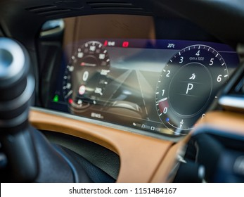 """MINSK, BELARUS - AUGUST 7, 2018:  Photo of Range Rover Velar's optional high-definition 12.3"""" Interactive Driver Display that features ultra sharp resolution delivering smooth curves and sharp edges."""