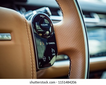 MINSK, BELARUS - AUGUST 7, 2018: Photo of Range Rover Velar's steering wheel with capacitive controls that accomplish a host of functions that driver want the vehicle to perform.