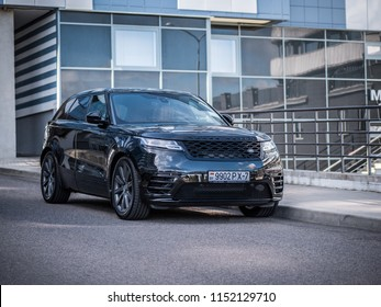 MINSK, BELARUS - AUGUST 7, 2018: Range Rover Velar at a test-drive. British SUV parked outside. Velar leads the way in progressive design, contemporary, clean and distinctive presence.