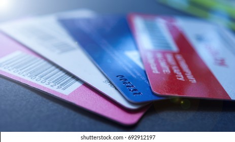 Minsk, Belarus, August/05/2017: Credit card, plastic cards, discount cards. Wallet, purse.