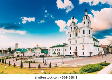 Minsk, Belarus. The Cathedral Of Holy Spirit In Minsk - The Main Orthodox Church Of Belarus And Symbol Of Capital. Famous Landmark