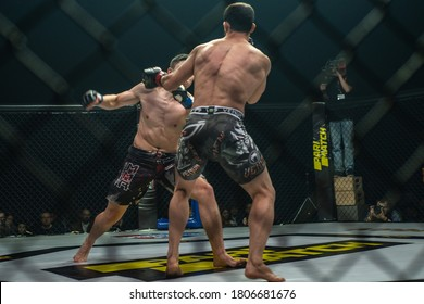 Minsk, Belarus, December 06, 2019. New Fighting Generation, Mixed Martial Arts. mma, the fight between the participants in the ring, in the octagon