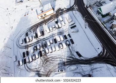 Minsk, Belarus - December 10 , 2017: Urban  winter views of Minsk from the high floor, View of the river Svisloch