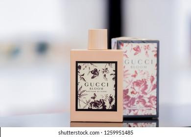 MINSK, BELARUS - DECEMBER 13,2018; Perfume bottle of Gucci BLOOM.