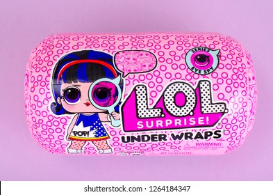Minsk, Belarus - December 14, 2018: Suprise package of New series L.O.L under color wraps Decoder. LOL - Lil Outrageous Littles surprise toy from MGA Entertainment, also create toys: Lalaloopsy.