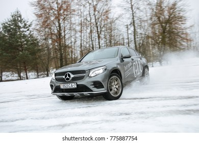 MINSK, BELARUS DECEMBER 16, 2017: New Mercedes-Benz GLC 250 at the test drive event for automotive journalists from Minsk