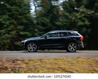 MINSK, BELARUS DECEMBER 17, 2019: Volvo XC60 T5 R-design at the test drive event for automotive journalists from Minsk