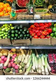 Minsk, Belarus - December 19, 2018: Fruits and vegetables from various manufacturers on shelves of supermarket, market, sale