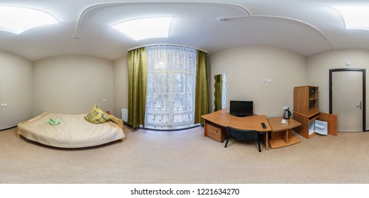 MINSK, BELARUS - DECEMBER, 2013: 360 panorama view in bedroom in small hotel, full seamless  panorama 360 degrees angle view in equirectangular spherical projection, skybox VR AR content