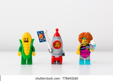 Minsk, Belarus. December, 2017. Collection mini-figures of Lego. Bright and colorful toys are popular all over the world and are admired by all children.