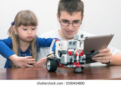 Minsk, Belarus. December, 2017. STEM education. Lego Mindstorms EV 3. Battle. Robotics class for child and teen. School.  Mathematics. Science. Kids play together.