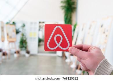 Minsk, Belarus. December 2017.  Travel around the world with Airbnb. Logo Airbnb.