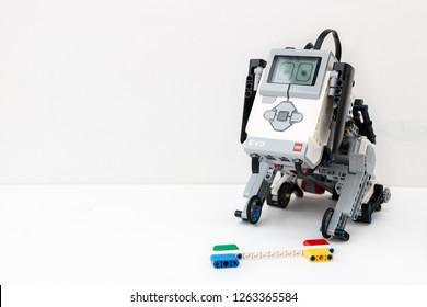 Minsk, Belarus. December, 2018. Dog robot Lego Mindstorms EV3. Stem education, robotics, design, art, science, mathematics, chemistry. Modern methods of education for children and teenagers.