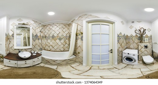 MINSK, BELARUS - DECEMBER 2018: full seamless spherical hdri panorama 360 degrees angle view in interior bathroom restroom in modern flat apartments in equirectangular projection, VR content