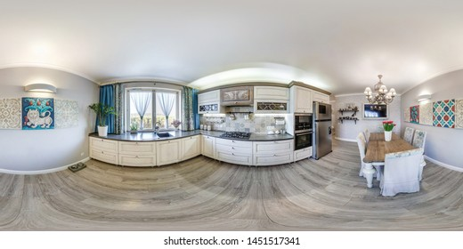 MINSK, BELARUS - DECEMBER 2018: full seamless spherical hdri panorama 360 degrees angle view in interior guestroom and kitchen in modern flat apartments in equirectangular projection, VR content