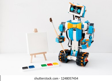 Minsk, Belarus. December, 2018. STEAM education class. The Lego Boost robot is painting.  Science, technology, engineering, mathematics, art. Best gift for child. Robotics. DIY. AI.