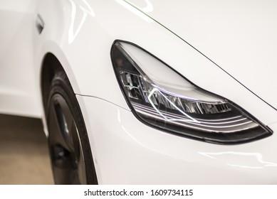 Minsk, Belarus - December 21, 2019 . Tesla electric car detail