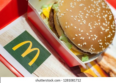 Minsk, Belarus, December 28, 2018: Big Mac on a tray with the McDonald's logo in McDonald's Restaurant