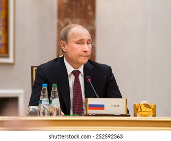 MINSK, BELARUS - Feb 11, 2015: Russian President Vladimir Putin before the negotiations of leaders of states in Normandy format in Minsk