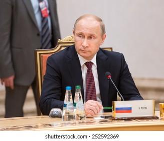 MINSK, BELARUS - Feb 11, 2015: Russian President Vladimir Putin before the negotiations of leaders of states in Normandy format in Minsk