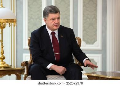 MINSK, BELARUS - Feb 11, 2015: President of Ukraine Poroshenko during a meeting with President of Belarus Alexander Lukashenko before negotiations of leaders of states in Normandy format in Minsk