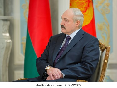 MINSK, BELARUS - Feb 11, 2015: President of Belarus Alexander Lukashenko during a meeting with Ukrainian President Poroshenko before the negotiations of leaders of states in Normandy format in Minsk