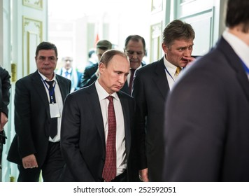 MINSK, BELARUS - Feb 12, 2015: Russian President Vladimir Putin after the negotiations of leaders of states in Normandy format in Minsk