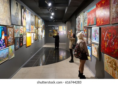 """Minsk, Belarus - February 02, 2017: Modern art gallery """"House of paintings"""" exposed paintings by different artists in framework of the project """"I Monet, I Shishkin, I Malevich"""". Minsk, Belarus."""