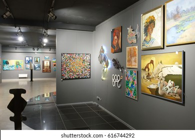 """Minsk, Belarus - February 02, 2017: Art gallery """"House of paintings"""" exposed works by different artists in framework of the project """"I Monet, I Shishkin, I Malevich"""". Minsk, Belarus."""