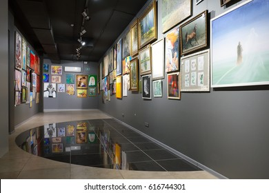 """Minsk, Belarus - February 02, 2017: Art gallery """"House of paintings"""" exposed paintings by different artists in framework of the project """"I Monet, I Shishkin, I Malevich"""". Minsk, Belarus."""