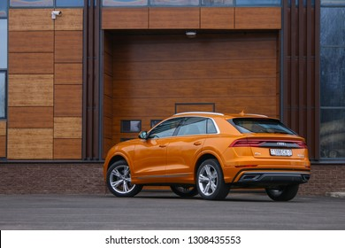 MINSK, BELARUS FEBRUARY 07, 2019: Audi Q8 at the test drive event for automotive journalists from Minsk