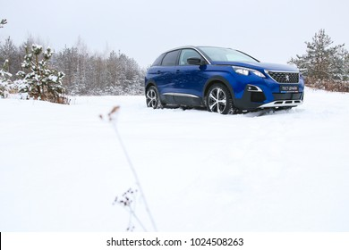 MINSK, BELARUS FEBRUARY 12, 2018: New Peugeot 3008 at the test drive event for automotive journalists from Minsk