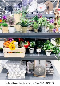 Minsk, Belarus - February 15, 2020: Artificial plants and flowers of various manufacturers on store shelves, sale