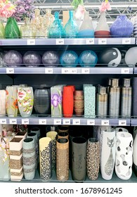 Minsk, Belarus - February 15, 2020: Decorative vases for fresh flowers of various manufacturers, sale in store