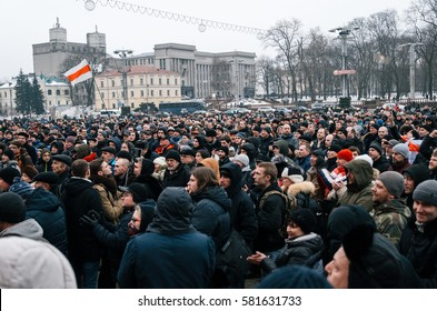 Minsk, Belarus - February 17, 2017 - Belarusian people participate in the protest against the decree 3 'On prevention of social parasitism' of President Lukashenko in the center of Minsk