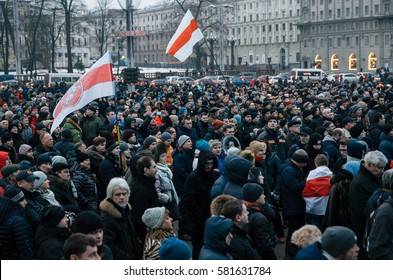 Minsk, Belarus - February 17, 2017 - Belarusian people participate in the protest against the decree 3 'On prevention of social parasitism' or 'Law against social parasites' of President Lukashenko