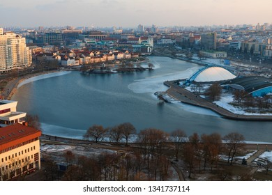 Minsk, Belarus - February 17, 2019: Panoramic view on the city center - Image