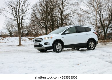MINSK, BELARUS FEBRUARY 18, 2017: New Ford Kuga AWD at the test drive event for automotive journalists from Minsk