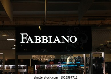 Minsk, Belarus: February 18, 2018: Fabbiano logo at the store in the outlet center