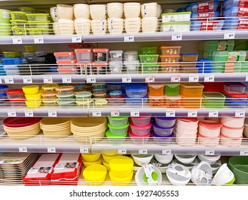 Minsk, Belarus - February 18, 2021: Plastic buckets, bowls, food storage containers on supermarket shelves, sale