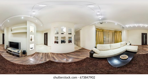 MINSK, BELARUS - FEBRUARY 2, 2013: Full spherical 360 by 180 degrees seamless panorama in equirectangular equidistant projection, panorama in interior guestroom in modern flat apartments, VR content