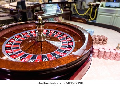 MINSK, BELARUS - FEBRUARY 2, 2017: gambling chips on a game table roulette