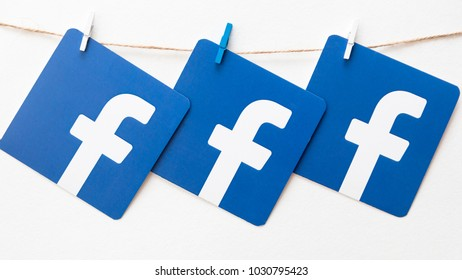 Minsk, Belarus. February, 2018. Logo of the well-known social network Facebook. Concept. Background.