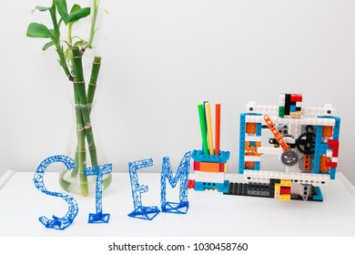Minsk, Belarus. February, 2018.STEM education. Robot clock in the class of engineering and chemistry.  Modern technologies. Free space for text. Robotics.