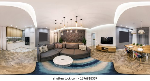 MINSK, BELARUS - FEBRUARY, 2019: full seamless spherical hdri panorama 360 degree angle view in interior of modern guestroom hall with sofa in light color style in equirectangular projection.