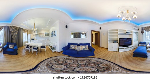 MINSK, BELARUS - FEBRUARY, 2019: Full seamless spherical hdri 360 degrees panorama in equirectangular projection in interior guestroom in modern flat apartments with sofa and armchairs, VR content