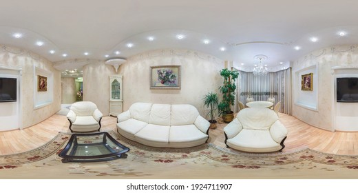 MINSK, BELARUS - FEBRUARY, 2019: Full spherical hdri 360 degrees panorama in equirectangular projection in interior guestroom in modern flat apartments with sofa and armchairs, VR content