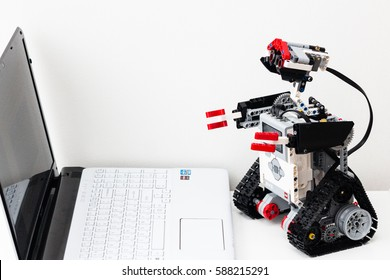 Minsk, Belarus -  February 26, 2017: Lego robot programs on a laptop.  School. E-learning.  STEM education.