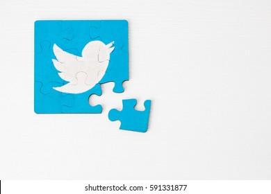 Minsk, Belarus - February 26, 2017:  Twitter logo on puzzle. Social network. Handmade. Acril painted.