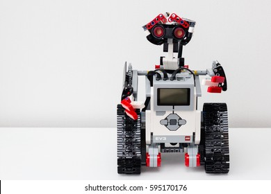 Minsk, Belarus -  February 26, 2017: Lego robot. Robotics. School. E-learning.  STEM education.